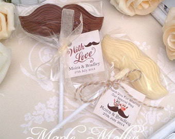 10 Personalised Luxury Chocolate Moustache Lollipops Wedding Favours