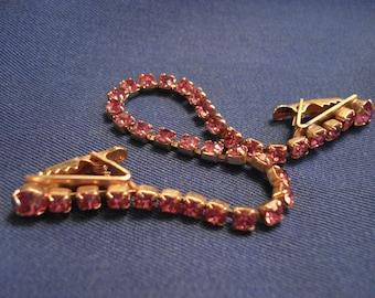 Pink Rhinestone Sweater Clip and Chain