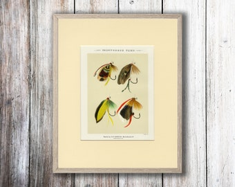 Trout And Bass Fishing Flies Art Print Fishing Gift C 1892 By Mary