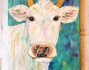 Cow Painting- Funky Farmhouse- Colorful Wall Art- Farmhouse Art- Cow Decor- Farmhouse Wall Decor- Farm Animal Nursery- Abstract Cow- Cow Art