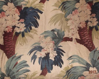 Vintage Nubby Barkloth panel fabric palm trees and flowers
