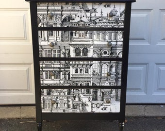 SOLD SAMPLE ONLY Black antique dresser with papered drawers
