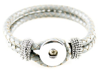 Gray Double Strand Braided Leather Bracelet