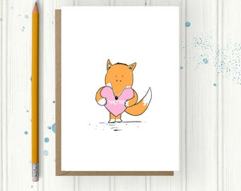 Mothers Day Card, Fox Card, Birthday card for mum, Step Mum card Cute and quirky Card, Personalised Card, Cute and quirky gift for,