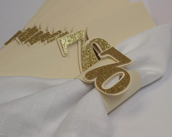 Gold Glitter 70 Napkin Holders, 12pcs