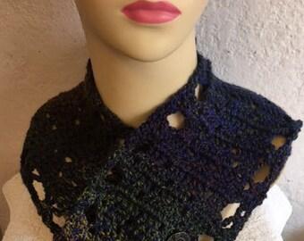 Crochet Italian wool neck warmer with steampunk buttons