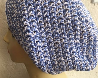 Slowchy Boho Crochet Blue and Pale Pink hat