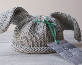 Baby Hat - Lop Eared Rabbit - Hand Knitted - Baby Bunny Hat - Bunny Ears Hat - Light Grey - Rabbit Hat - Newborn - Photo Prop - 100% Cottton
