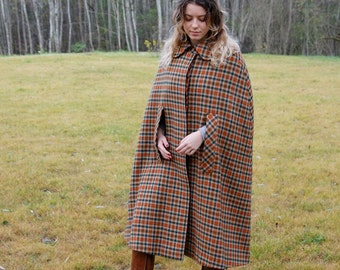 Vintage Wool Cape Coat Plaid Cape Cloak Sleeveless Coat Medieval Medium Size Austrian Loden Coat Orange Green Checkered Cape Coat