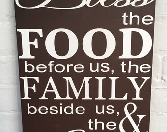 Kitchen Sign/Bless the Food Before us sign/rustic wood sign/farmhouse sign/wood sign