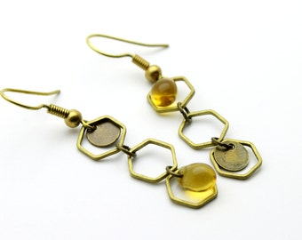 """Earrings """"Api"""" hexagons and amber Pearl"""