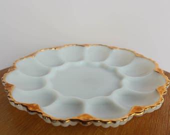 Milk glass with gold trim deviled egg tray, deviled egg platter
