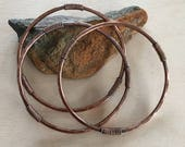Women's Bracelet bangle -  Set of three - Sizes small - medium - large - x-large - Handmade Copper Metal Artisan Jewelry