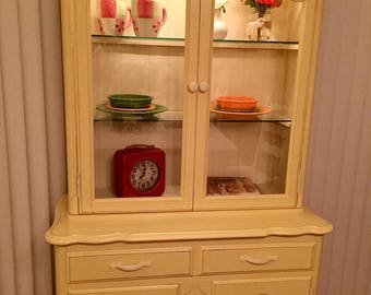 Beautiful Butternut Yellow and Antique White Vintage Hutch