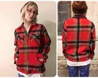 Wool Plaid Vintage Zip up jacket Traverse Bay
