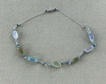 "17.5"" Sterling Silver Sea Glass Necklace With Muted Soft Seaglass Pastels & Czech Glass Teal Beads - Pale Grey, Blue, Green, And White Tones"