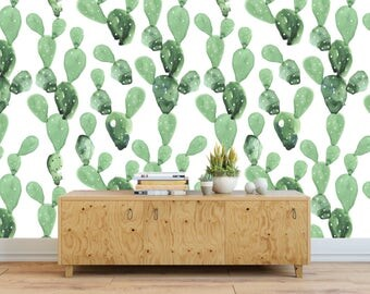 Self adhesive Cactus pattern Wallpaper / Cacti Removable Wallpaper / Wall Mural / Cactus Wall sticker / Temporary Wallpaper / Cactus decor