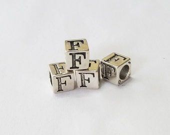 Sterling Silver, Alphabet, Letter, LETTER F, Bead, Alpha, Clearance, Sale, Jewelry, Beading, Supply, Supplies
