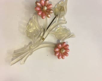 Vintage pink and clear lucite flower pin