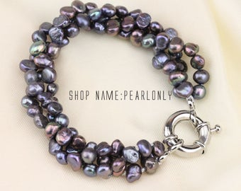 3 strand twisted black pearl bracelet,chunky baroque pearl bracelet,cluster pearl bracelet,bridesmaid bracelet,black pearl wedding bracelet