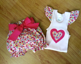 Pretty baby girl summer set. Handmade bloomers and  singlet set, size 12-28 months.baby girl outfit.panda fabric