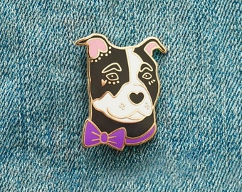 Pit Bull Rescue Pin with Bowtie Enamel Pin with Rubber Clasp // Hard Enamel, Cloisonne, Accesories, Flair