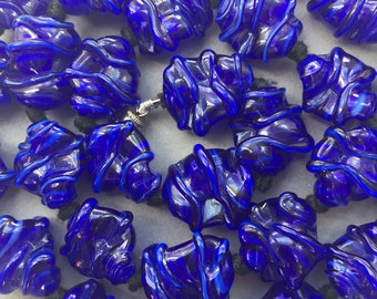 1950's Royal Blue Glass Beads Necklace