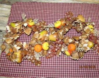 Set of 2 Vintage Fall Plastic Candle Rings Candy Corn Fruit Pears Grapes Fall Decorations