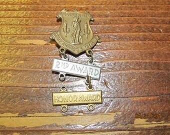 Vintage US Defense Agent Merit Award U.S. Treasury Medal WWII 1940's 2nd 3rd Award Pin