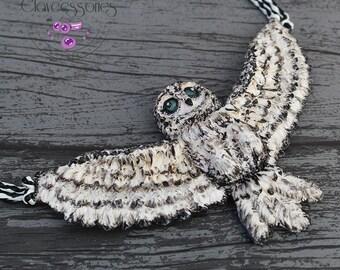 Owl necklace / Bird necklace / Bib necklace / Statement necklace / Animal necklace / Wings necklace / Polymer clay necklace