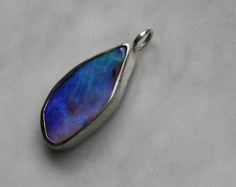 Blue Boulder Opal Sterling Silver Pendant