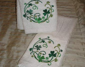 PAIR hand towels - shamrock circle - EMBROIDERED 15 x 25 inch for kitchen or bath