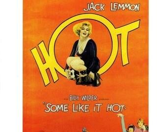 "50% Off Estate Sale Vintage Marliyn Monroe Movie Poster, PM009, 1959 Some Like it Hot,  11"" x 14""  Print, Tony Curtis"