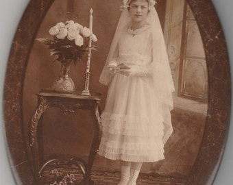 ON SALE Antique oval photograph metal button Confirmation religious pretty young girl -- vintage old photo