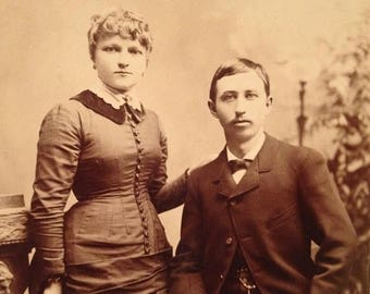 ON SALE Late 1800's Antique Cabinet Card Photograph Young Couple Pretty Handsome Old Vintage Photo