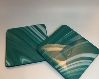 Fused glass coaster in turquoise swirl