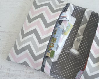 Small Diaper Bag | Chevron Diaper Bag | Diaper Bag Organizer Insert | Diaper Bag Girl | Nappy Wallet | Pink and Grey Baby Shower Gift
