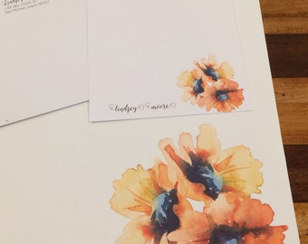 Watercolor sunflower stationery set