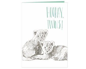 Twins babyshower card - Hooray, twins!  - cute twin lion cubs - unique hand drawn babyshower card - new born twins - new baby twins - eco