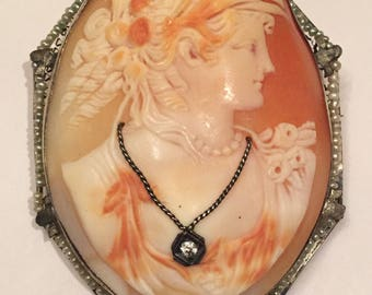 Rare antique shell cameo en habille with rose cut diamond and seed pearls