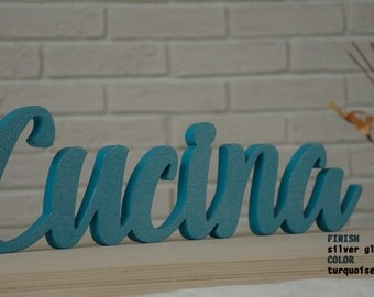 Kitchen Decor Painted Rustic Cucina Wooden Sign Cucina Italiana The Italian Word For