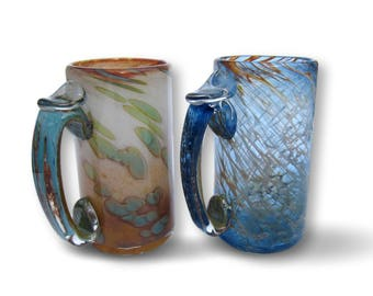 Mix And Match Beer Mug Set Hand Blown Glass in Sunrise and Sunset Patterns