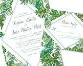 Tropical Wedding Invitation | Destination Wedding Invitation | Palm Leaf Invite | DIY Option Available | Invitation | RSVP | Info Card #1200
