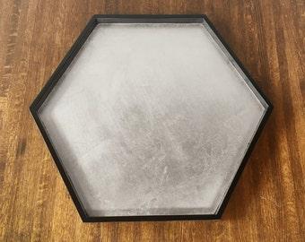 Black Hexagonal Tray with Silver Leaf, Black Hexagonal Tray, Hexagonal Coffee Table Tray, Hexagonal Ottoman Tray