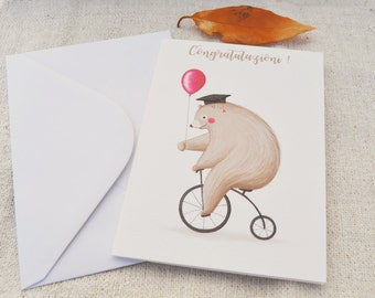 Graduation Card with bear original illustration