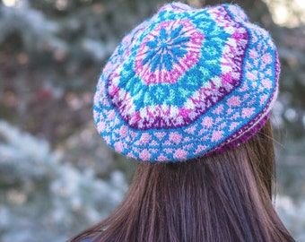 La Pradera Linda Tam pattern--fair isle stranded colorwork digital knitting pattern PDF