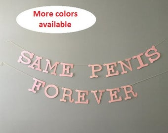 Same Penis Forever Banner - Bachelorette Party Banner - Cheap Bachelorette Party Decorations - Pink Same Penis Forever Banner - Hen Party