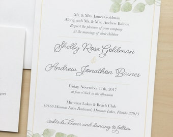 Eucalyptus Greenery Wedding Invitation Suite Sample or Deposit / Simple Elegant Garden Wedding / #1109