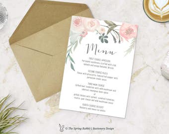 Spring Floral Watercolour Printable Menu Card - Floral Watercolour Menu Card - Customizable invitations - DIY Wedding Invitation Set