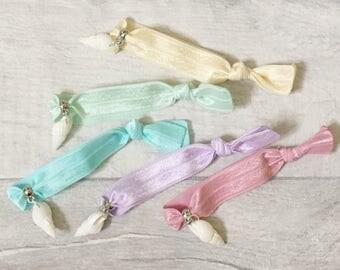 Hair Tie Bracelet, Shell Bracelet, Girls Bracelet, Beach Bracelet, Party Bag Filler, Loot Bags, Party Favors, Girls Party Favor, Beach Party